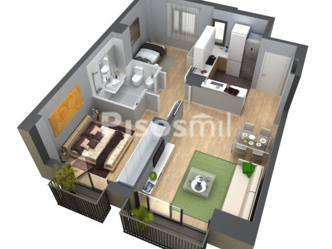 Plano 2 habitaciones Obra Nueva Poblenou Barcelona
