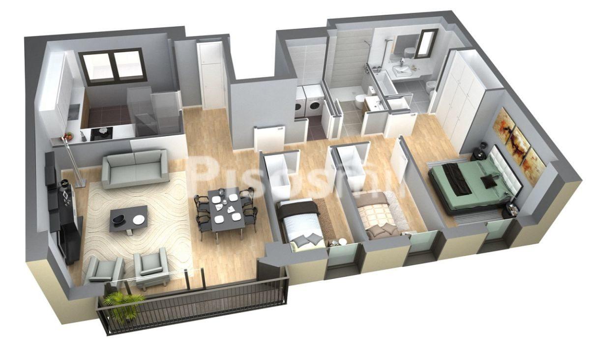 Plano 3 habitaciones Obra Nueva Poblenou Barcelona