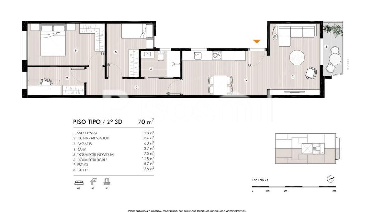 Obra Nueva Horta Plano Piso22 3 habs (1)