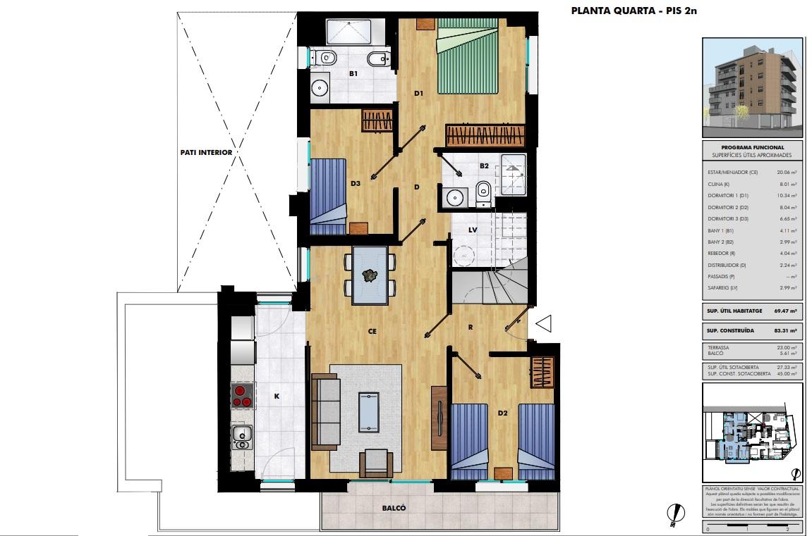 Dúplex 42 - Plano planta cuarta - Vendido